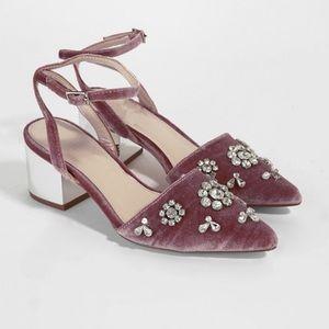 Forever 21-Embellished Velvet Block Heels
